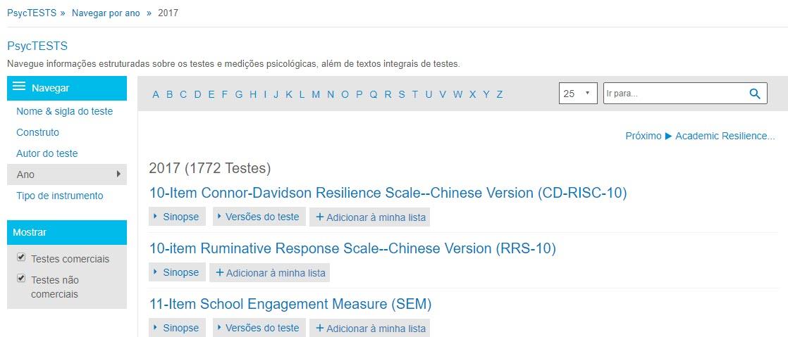 """Captura da página de navegação do PsycTESTS mostrando a opção """"Ano"""" e 2017"""