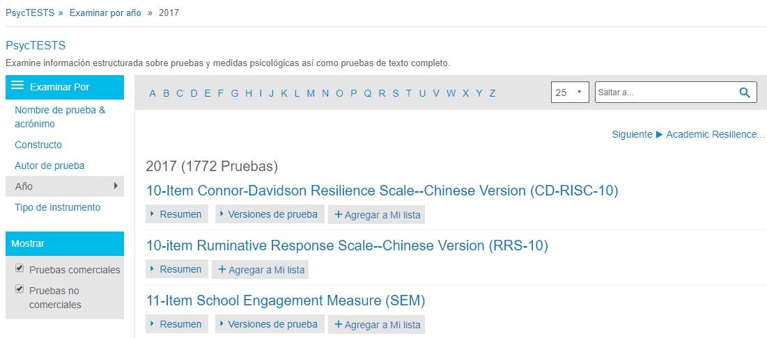 Captura de pantalla de la página Examinar de PsycTESTS que muestra Examinar por Año de 2017.