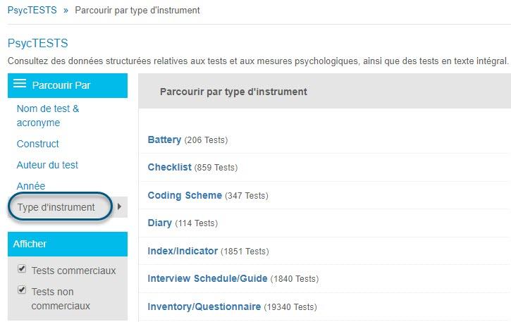 Capture d'écran de la page Parcourir de PsycTESTS montrant l'option Type d'instrument de la section Parcourir par