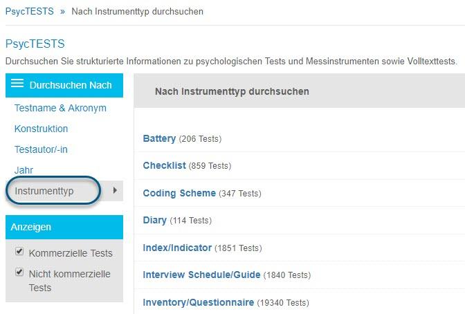 """Screenshot der Seite """"Durchsuchen"""" für PsycTESTS mit ausgewählter Option """"Instrumenttyp"""""""
