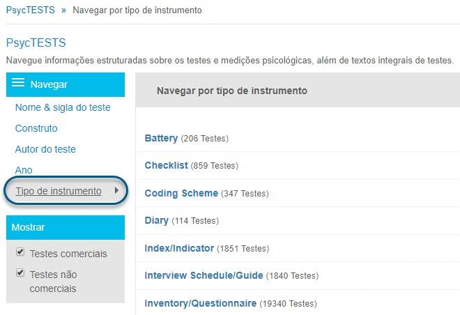 """Captura da página de navegação do PsycTESTS mostrando a opção """"Tipo de instrumento"""""""