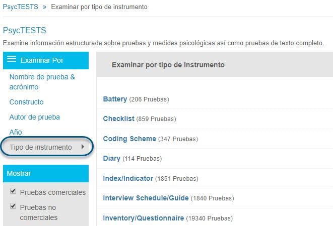 Captura de pantalla de la página Examinar de PsycTESTS que muestra Examinar por Tipo de instrumento seleccionado