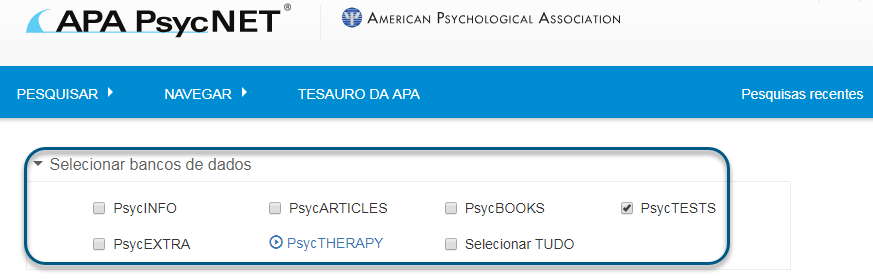 Captura de tela da pesquisa avançada no PsycNET com o banco de dados PsycTESTS marcado