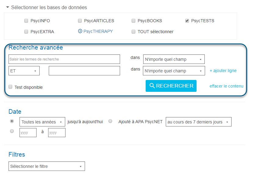 Capture d'écran de la page Recherche avancée de PsycNET avec les champs de recherche avancée entourés