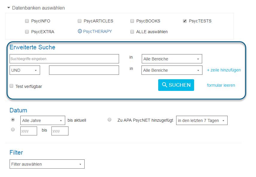 """Screenshot des Bildschirms """"Erweiterte Suche"""" in PsycNET mit eingekreisten Feldern"""