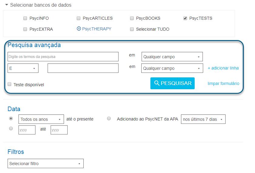 Captura de tela com os campos da pesquisa avançada no PsycNET circulados