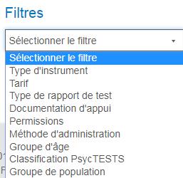 Capture d'écran de la section Filtres de la page Recherche avancée de PsycNET