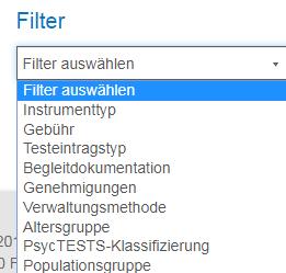 """Screenshot des Bildschirms """"Erweiterte Suche"""" in PsycNET, Bereich Filter"""