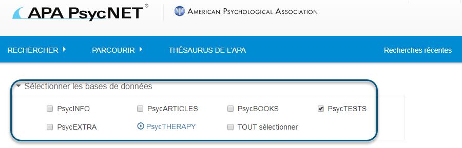 Capture d'écran de la page de recherche PsycNET avec la base de données PsycTESTS sélectionnée