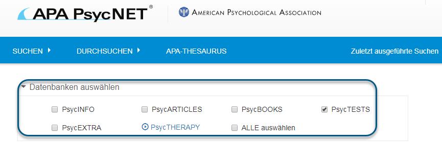 Screenshot des Suchbildschirms in PsycNET mit ausgewählter PsycTESTS-Datenbank