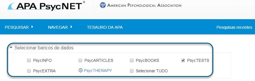 Captura de tela de pesquisa no PsycNET com o banco de dados PsycTESTS marcado