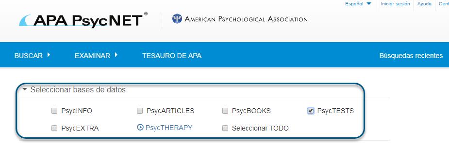 Captura de pantalla de la pantalla de búsqueda de PsycNET con la base de datos PsycTESTS marcada