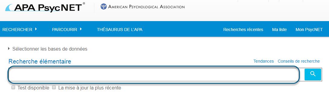 Capture d'écran de la page Recherche élémentaire de PsycTESTS avec le champ de recherche entouré