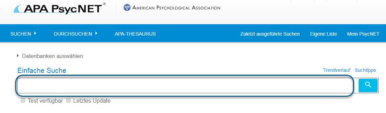 Bildschirm der einfachen Suche in PsycTESTS mit eingekreistem Eingabefeld