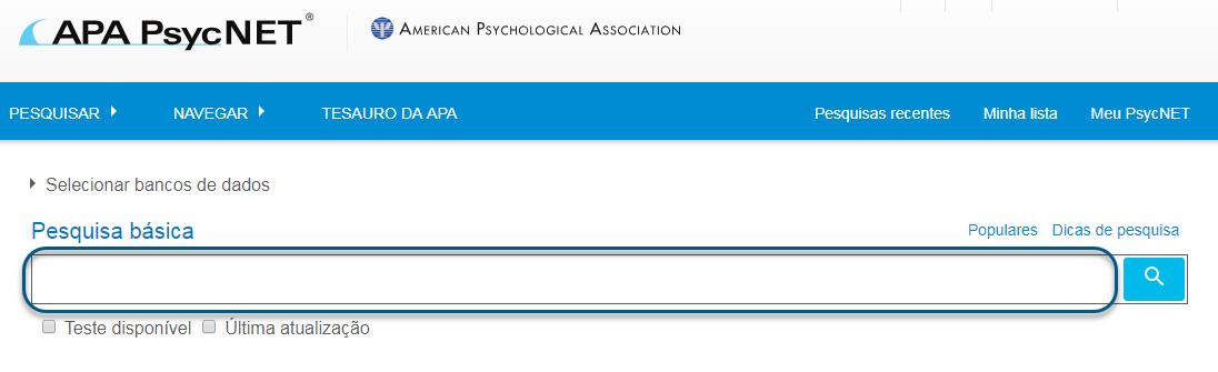 Captura de tela com o campo da pesquisa básica do PsycTESTS circulado