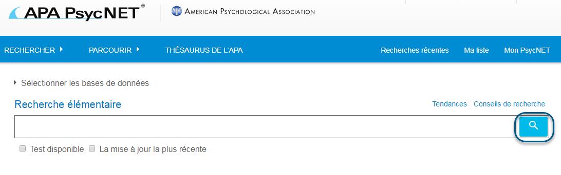 Capture d'écran de la page de Recherche élémentaire PsycNET avec l'icône Rechercher entourée