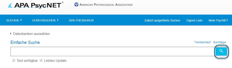 """Screenshot des Bildschirms """"Einfache Suche"""" in PsycNET mit eingekreistem Suchsymbol"""