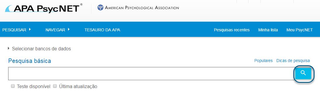 Captura de tela da pesquisa básica PsycNET com o ícone de pesquisa circulado