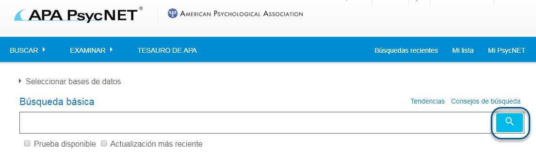 Captura de pantalla de la pantalla de PsycNET Búsqueda básica con el icono de búsqueda en un círculo