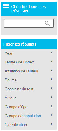 Capture d'écran de la section Filtrer les résultats de PsycTESTS sur PsycNET