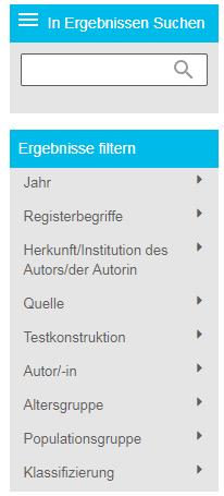 Screenshot des Bereichs der PsycTESTS-Filterergebnisse in PsycNET