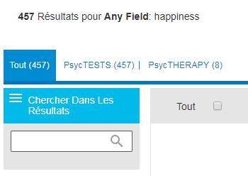 Capture d'écran montrant le champ Chercher dans les résultats sur PsycNET