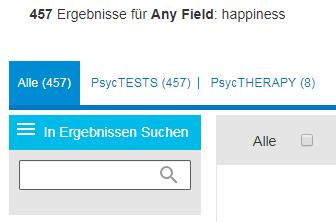 """Screenshot mit dem Feld """"In Ergebnissen suchen"""" in PsycNET"""