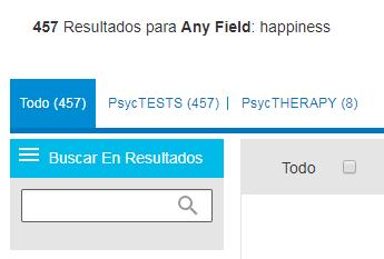 Captura de pantalla que muestra el campo Buscar en resultados de PsycNET