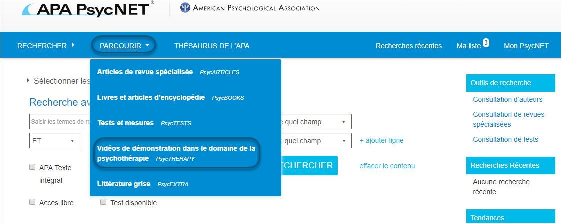 Capture d'écran of PsycNET montrant le lien Vidéos de démonstration dans le domaine de la psychothérapie - PsycTHERAPY sélectionné