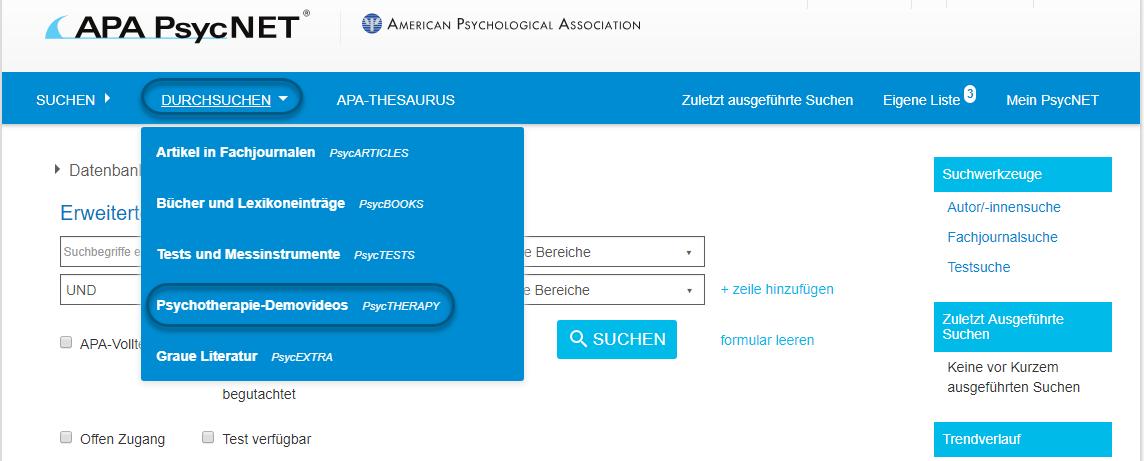 """Screenshot von PsycNET mit Auswahl von """"Psychotherapie-Demovideos - PsycTHERAPY"""""""