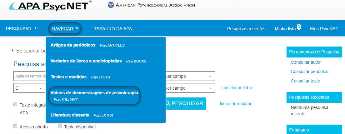 """Captura da tela do PsycNET com """"vídeos de demonstrações de psicoterapia – PsycTHERAPY"""" selecionado"""
