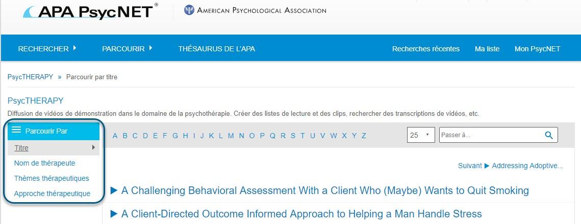 Capture d'écran de la page Parcourir de PsycTHERAPY montrant l'option Titre sélectionnée dans la section Parcourir par
