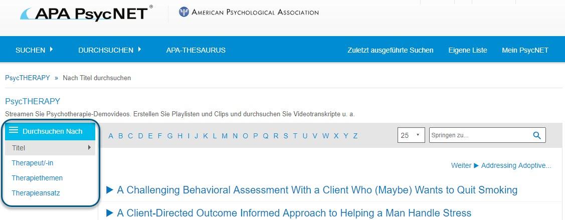 """Screenshot der Seite """"Durchsuchen"""" für PsycTHERAPY mit der Ansicht """"Durchsuchen nach Titel"""""""