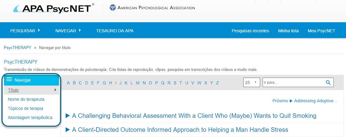 """Captura da página de navegação do PsycTHERAPY mostrando a opção """"Título"""""""