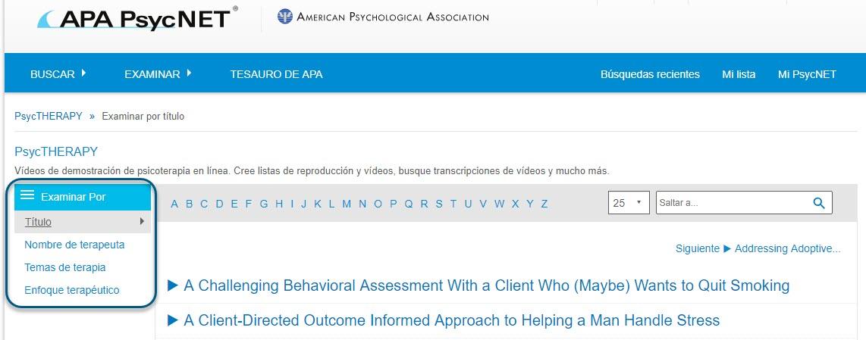 Captura de pantalla de la página Examinar de PsycTHERAPY que muestra la vista o pantalla Examinar por título