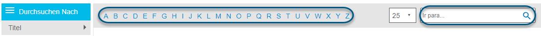 """Screenshot mit Alphabet-Streifen und dem Feld """"Springen zu"""" im Bildschirm """"Durchsuchen"""" für PsycTHERAPY"""