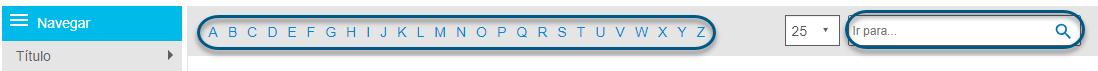 """Captura de tela mostrando a lista alfabética e o campo """"Ir para"""" na tela de navegação do PsycTHERAPY"""