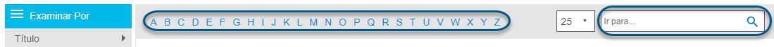 Captura de pantalla que muestra la barra alfabética y el campo Saltar a en la pantalla Examinar de PsycTHERAPY