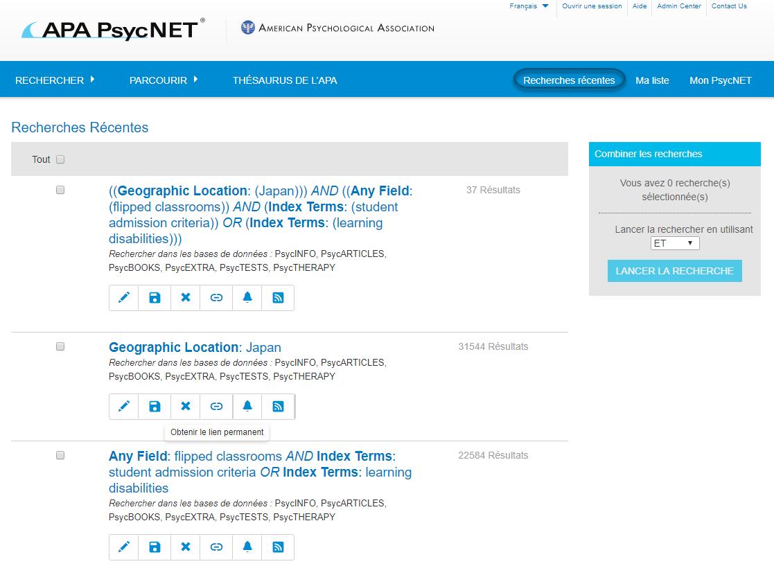 Capture d'écran de la page Recherches récentes de PsycNET, avec le lien Recherches récentes entouré dans la barre de navigation en haut de page