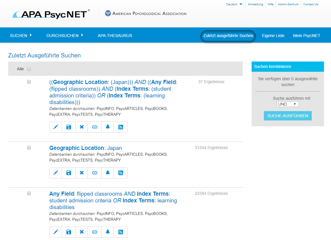 """Screenshot des Bildschirms """"Zuletzt ausgeführte Suchen"""" in PsycNET mit eingekreistem Link in der oberen Navigationsleiste"""