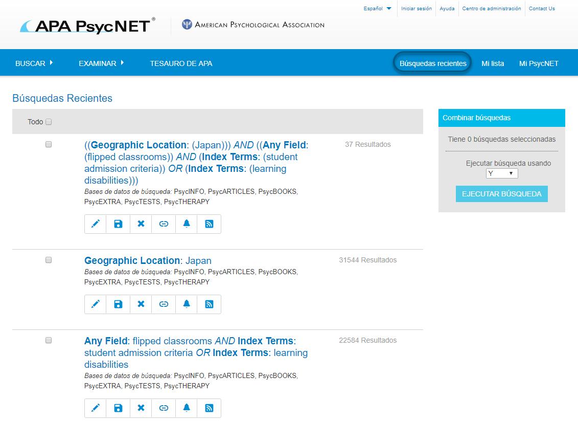 Captura de pantalla de la pantalla de Búsquedas recientes de PsycNET, con el enlace Búsquedas recientes en la parte superior de navegación en un círculo