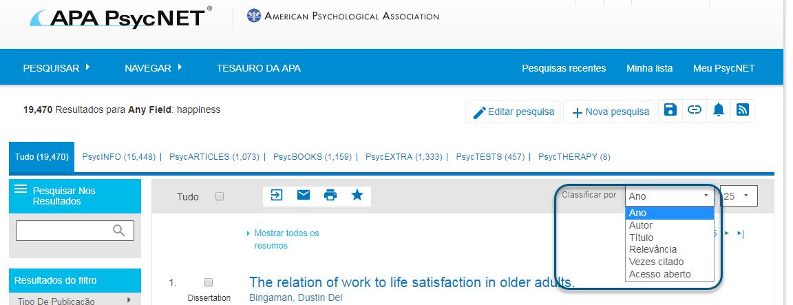 """Captura de tela dos resultados do PsycNET mostrando o menu suspenso """"Classificar por"""" com o valor """"Ano"""" escolhido"""