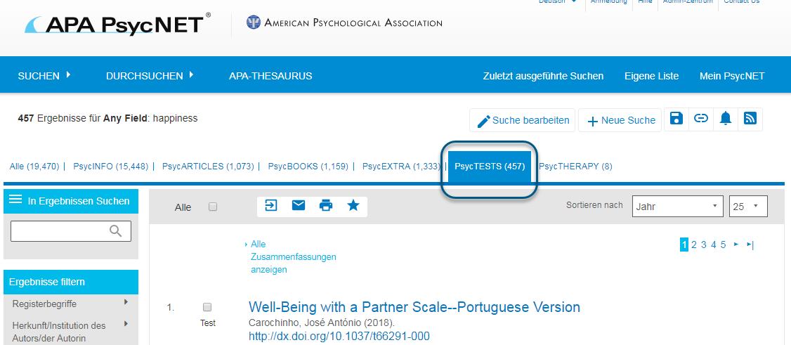 """Screenshot von PsycNET mit hervorgehobener und eingekreister Registerkarte """"PsycTESTS"""""""