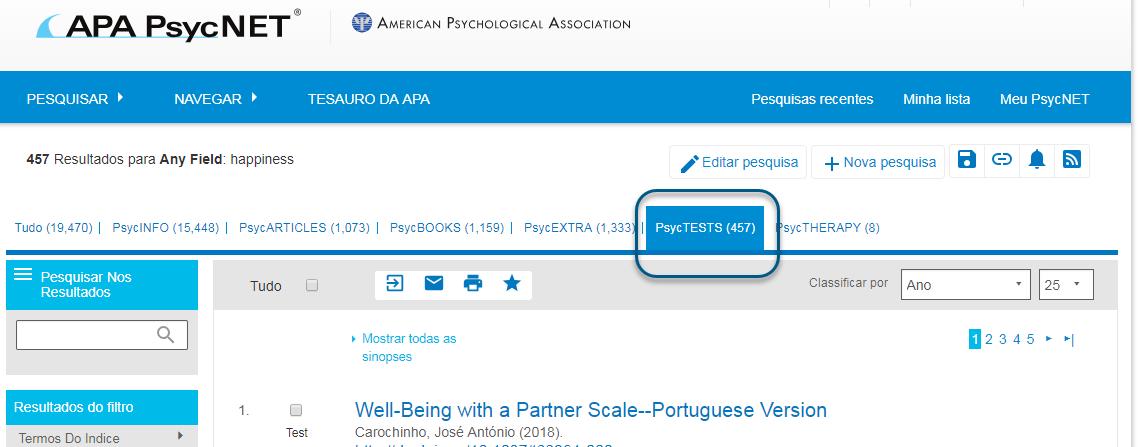 Captura de tela do PsycNET mostrando a guia PsycTESTS realçada e circulada