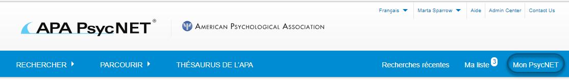 Capture d'écran de la section Recherches sauvegardées de PsycNET avec le lien Mon PsycNET entouré