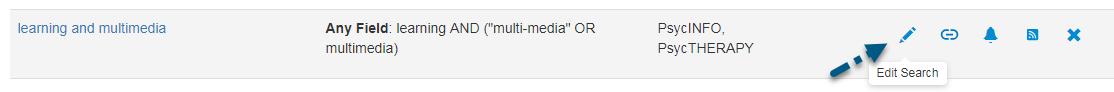 Captura de pantalla de la pantalla de PsycNET Búsquedas guardadas con una flecha apuntando al enlace de Editar búsqueda