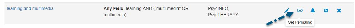 Capture d'écran de la section Recherches sauvegardées de PsycNET avec une flèche vers l'icône Obtenir le lien permanent