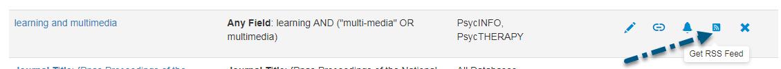Capture d'écran de la section Recherches sauvegardées de PsycNET avec une flèche vers l'icône Obtenir le flux RSS