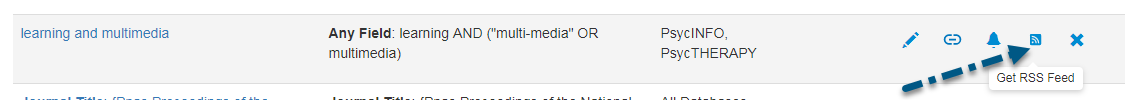 Captura de pantalla de la pantalla de PsycNET Búsquedas guardadas con una flecha apuntando al enlace de Obtener fuente RSS