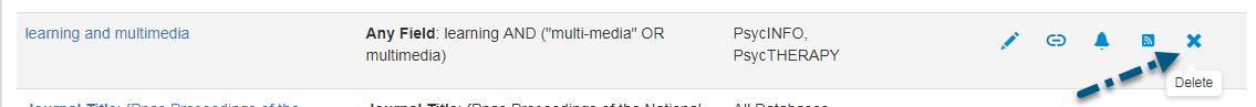 """Screenshot des Bildschirms """"Gespeicherte Suchen"""" in PsycNET mit einem Pfeil zum Link """"Löschen"""""""